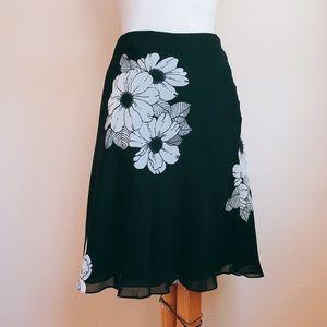 Ann Taylor Floral Print Flutter A Line Skirt